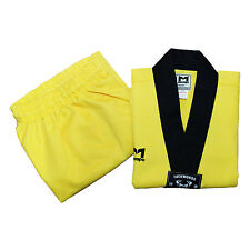 TAEKWONDO KIDS CHILD UNIFORM Suits Dobok Yellow Stripes V-neck Martial Arts TKD