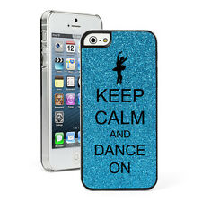 For Apple iPhone 4 4S 5 5S 5c GLITTER Bling Hard Case Keep Calm and Dance On