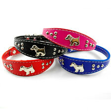 Cute Dog Charm Studded Soft PU Leather Small Dog Puppy Pet Collar Neck for 8-10""