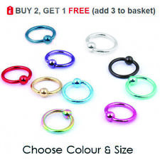 Ball Closure Ring Captive Bead BCR 16g 1.2mm Nose Ear Helix Tragus Lip Colours