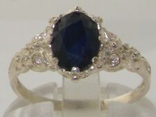 Luxurious Solid 925 Sterling Silver Natural Sapphire Solitaire Engagement Ring