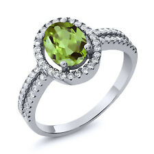 2.09 Ct Stunning Oval Green Peridot Gemstone Birthstone 925 Sterling Silver Ring