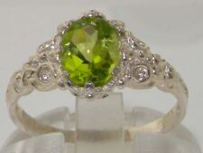 Luxurious Solid 925 Sterling Silver Natural Peridot Solitaire Engagement Ring