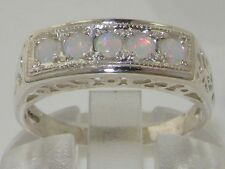 Solid English 925 Sterling Silver Natural Opal Victorian Eternity Style Ring