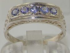 Solid English 925 Sterling Silver Natural Tanzanite Victorian EternityStyle Ring