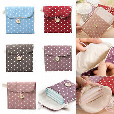 1PCS Polka Dot Girls Sanitary Napkin Bags Cotton Pouch Purse Pad Holder Handbag