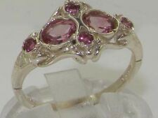 Unusual Solid 925 Sterling Silver Natural Pink Tourmaline Victorian Style Ring