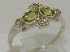 Rare Unusual Solid 925 Sterling Silver Natural Peridot Victorian Style Ring