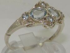 Rare Unusual Solid 925 Sterling Silver Natural Aquamarine Victorian Style Ring