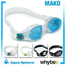 AQUA SPHERE MAKO SWIMMING GOGGLES - SWIM GOGGLES - Lime Aqua Black Transparent
