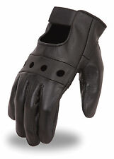 First MFG Men's Basic Cowhide Leather Driving Gloves w/ Padded Palm FI146GL