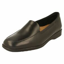 LADIES K BY CLARKS BLACK LEATHER WIDE FIT SLIP ON CASUAL LOAFER SHOES GEORGIA