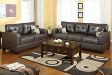 Loveseat Sofa and Accent Pillows Sofa Set in a Bonded Leather Match F7341_42