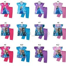 Girls Frozen Elsa Anna Pyjamas Shorts Set Sleepwear Pjs Nightwear Ages 3-8 Years