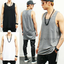 Mens Slim Fit Over Long Unbalanced Hem Sleeveless Tank Top 3 Colors, GENTLERSHOP