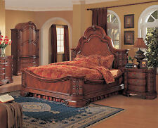 Traditional 4Pc Master Bedroom Furniture Set King Queen Size Bed Cherry Finish