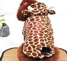 Brown Giraffe Winter Coat Hooide small cat Dog Clothes Halloween dog Costume