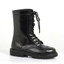 WOMEN MILITARY WAR SOLDIER COSTUME BLACK COMBAT GOTHIC LACE-UP ANKLE-HIGH BOOTS