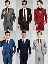 New Mens Solid One Button Wedding Business Suits Jacket Pants Navy Gray Burgundy
