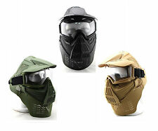 New Colors Airsoft Face Guard Mask Eye Crystal Goggles with/without Neck Protect