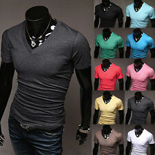█ █ Mens Slim Fit V-neck Casual T-shirt Short Sleeve Muscle Tee Size M L XL 2XL