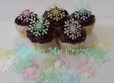 200 Edible Snowflake Cupcake Topper Cake Decoration Mixed Colours Available