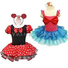 Girls Minnie Mouse Mermaid Outfit Fancy Party Dress Up Tutu Costume + Headband