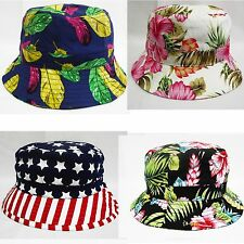 Unisex Cotton Bucket Hat Boonie Flower Floral Hunting Fishing Outdoor Cap RZ NY