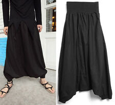 Men's Super Unique Elastic Waist Linen Loose Harem Pants Casual Black Trousers