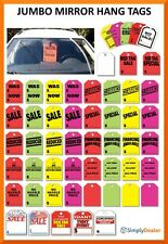 Jumbo Mirror Hang Tags Standard Floursecent Colors & White Heavy Stock Qty 50