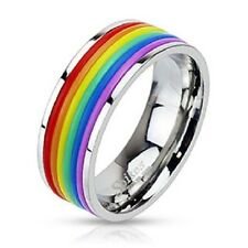 Stainless Steel Rubber Band Gay Lesbian Pride Rainbow Band Ring