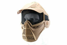 Adjustable Elastic Strap Airsoft Tactical Face Guard Mask Mesh w/Goggles Protect