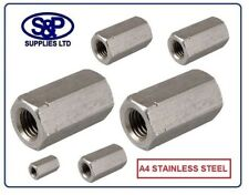 A4 STAINLESS STEEL THREADED ROD CONNECTOR DEEP NUT M5 TO M24