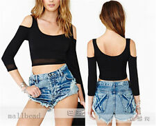 New Sexy Woman Backless Strapless Short Slim Tshirt Gauze Long Sleeve Top Blouse