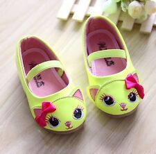2014 NEW Fall Kids Toddler Girls Sweet Cute Lovely Cats Velcro Soft Flat Shoes