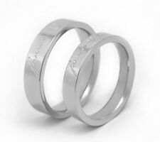 "Stainless Steel Couple Wedding Band Promise Ring ""forever love"" Silver Color"