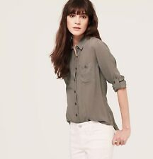 NWT ANN TAYLOR LOFT Brown Grey Utility Light Airy ButtonDown Softened Shirt $49