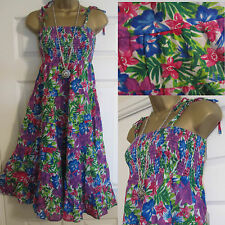 NEW EX BHS BRIGHT FLORAL PINK PURPLE BLUE STRAPPY SUMMER SUN BEACH DRESS 8 - 22
