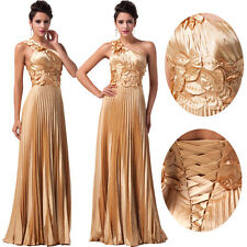 Pleated Bridesmaid Ball Gown Evening Party Prom Bride Cocktail Maxi Dress Gold