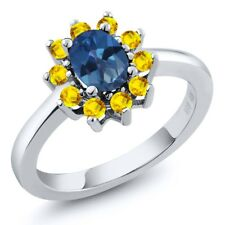 1.45 Ct Oval Royal Blue Mystic Topaz Yellow Sapphire 14K White Gold Ring