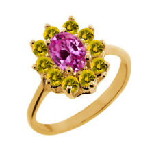 1.50 Ct Oval Pink Created Sapphire Yellow Sapphire 14K Yellow Gold Ring