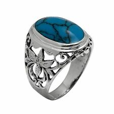 925 Sterling Silver 23mm Oval Blue Turquoise Stone Mens Ring size 9 10 11 12 13