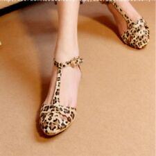 Sex Women Ladies Sandals Leopard Print Flat Heel Women's Sandals Shoes