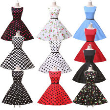 TOP Sexy 50s Polka Dot Housewife Pinup Vintage Rockabilly Flared COTTON Dress