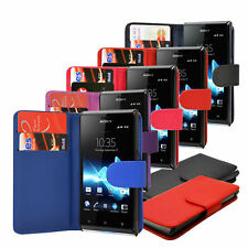 Faux Leather Flip Wallet Case Cover For Sony Xperia J ST26i + Screen Protector