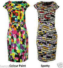 COLLECTION LONDON Womens Ladies Mix Colour Cotton Satin Party Shift Dress 8 - 18