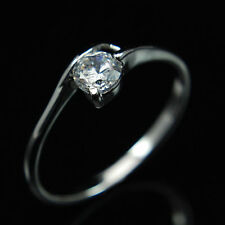 White Gold GP Womens Solitaire Engagement Ring with Created Diamond 0.25 carat