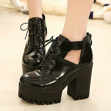 Womens Hollow Out Punk Goth Lace-up Chunky Heels Platform Ankle Shoes