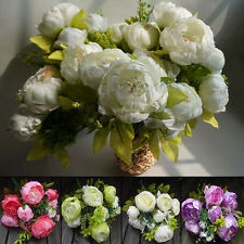 1 Bouquet Artificial Spring cored Peony Silk Flower Leaf Party Garden Decoration