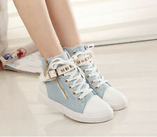 Womens Round Toe High Top Sneakers Lace Up Ankle Strap Rivets Shoes Black Size